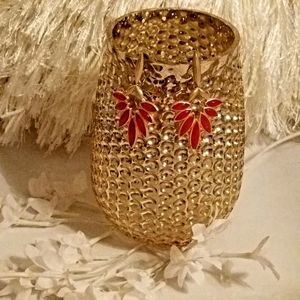 NWT Red with matte gold earrings